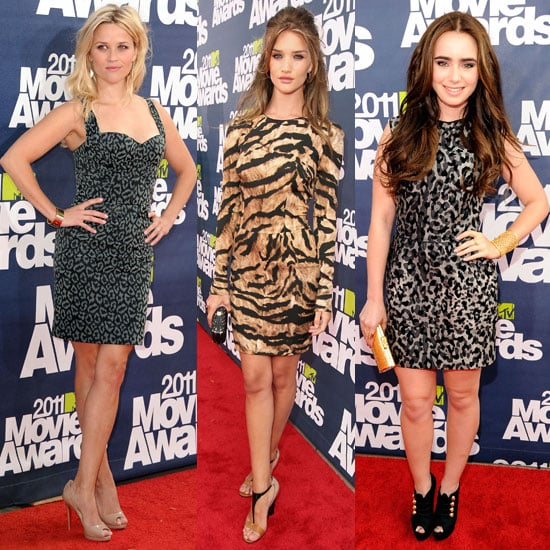 Animal Print aTrend at the 2011 MTV Movie Awards: Reese Witherspoon, Lily Collins and Rosie Huntington-Whiteley