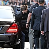 Robert Pattinson arrived at the studio of the Jimmy Kimmel Show in LA.