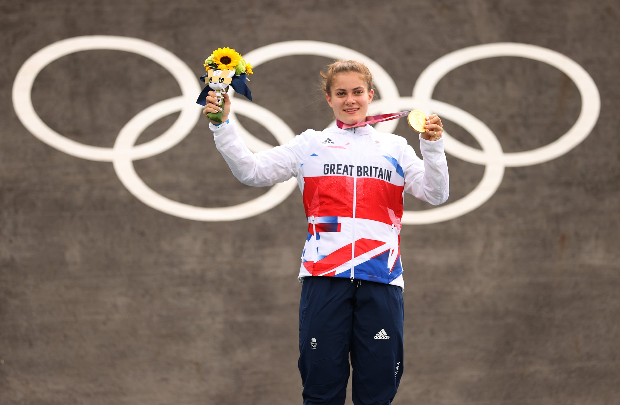 TOKYO, JAPAN - JULY 30: Bethany Shriever of Team Great Britain poses with the gold medal after the Women's BMX final on day seven of the Tokyo 2020 Olympic Games at Ariake Urban Sports Park on July 30, 2021 in Tokyo, Japan. (Photo by Francois Nel/Getty Images)