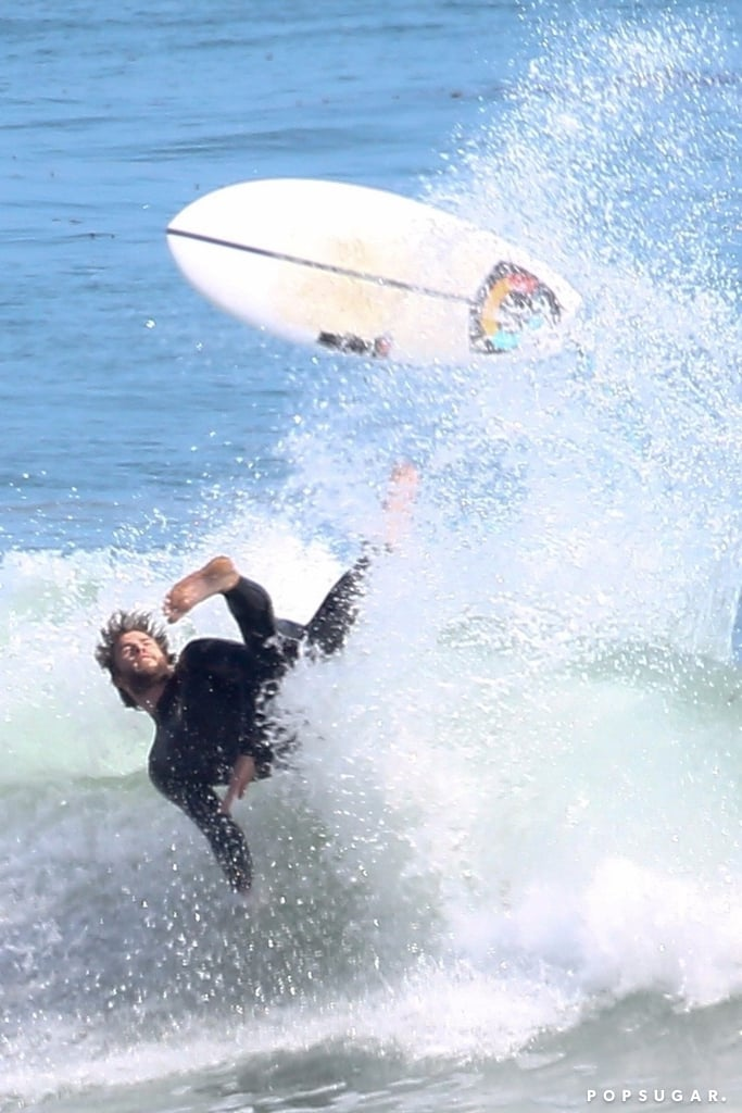 Uh-oh! Liam Hemsworth took a nasty fall when he hit the waves for a surf session with his older brother Luke in Malibu, CA, on Tuesday. The 28-year-old actor was thrown off his board as he rode the waves — but don't worry, guys, it looks like he's OK. After wiping out, Liam called it an afternoon and retreated back to his car, where he stripped off his wetsuit and gave us a glimpse of his beautiful shirtless body. Unfortunately, Miley Cyrus wasn't there to console him, but at least his brother was there.  Liam has been spending a lot of time with his family lately. In May, the actor shared a photo from his hike with his parents, Leonie and Craig, on Instagram, and boy, did it send his fans into a frenzy. While the picture was cute and all, all we could really focus on was Liam's superhot dad. Yep, good looks definitely run in the Hemsworth brood.       Related:                                                                                                           30 Steamy Liam Hemsworth Pictures That Will Leave You Guzzling a Bottle of Water