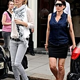 Kate Moss and Sadie Frost headed to their car after having lunch in London.