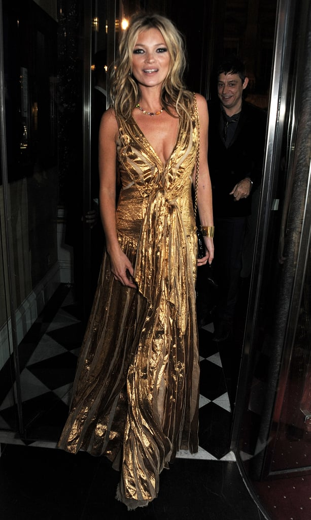 Kate Moss's gold Marc Jacobs gown is a shoe-in for New Year's Eve. Let it have all the attention by pairing it with simple heels and no-fuss hair and makeup.
