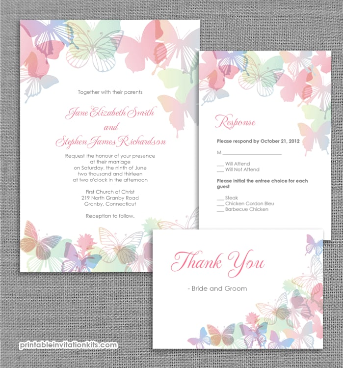 Spring Butterflies Wedding Invitation Free Printable Wedding - Wedding invitation templates: wedding card invitation templates free download