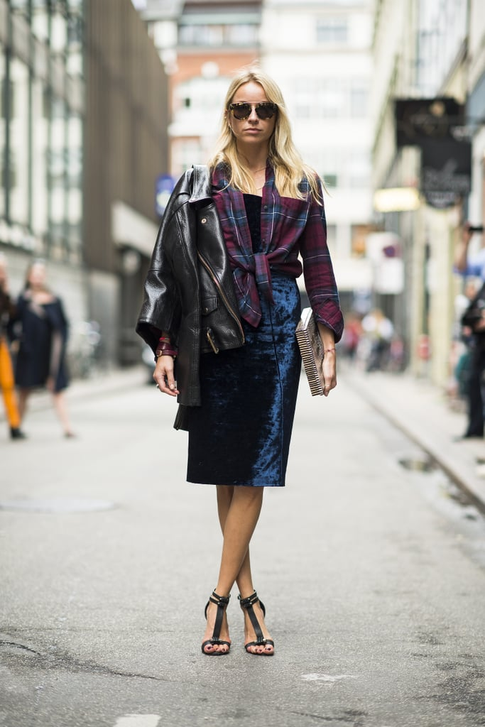 Come Fashion Week, this is the uniform — a perfect styling strategy that employs plaid, leather, the pencil skirt, and killer footwear. Source: Le 21ème   Adam Katz Sinding