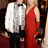 Sir Ian McKellen posed with Kim Cattrall for pictures at the London Evening Standard Theatre Awards.