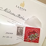 The invites for the Paris shows were rolling in — we loved how the Lanvin invitation came with a special Lanvin stamp.