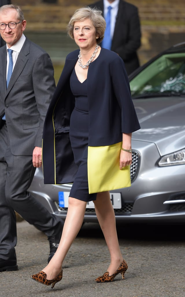 The British Prime Minister Got Called Out For Leopard Heels and a Short Hemline