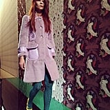Although the fuzzy coats and sweater tights sent down the runway at Miu Miu don't feel exactly Spring, we're still buying it. Source: Instagram user popsugarfashion