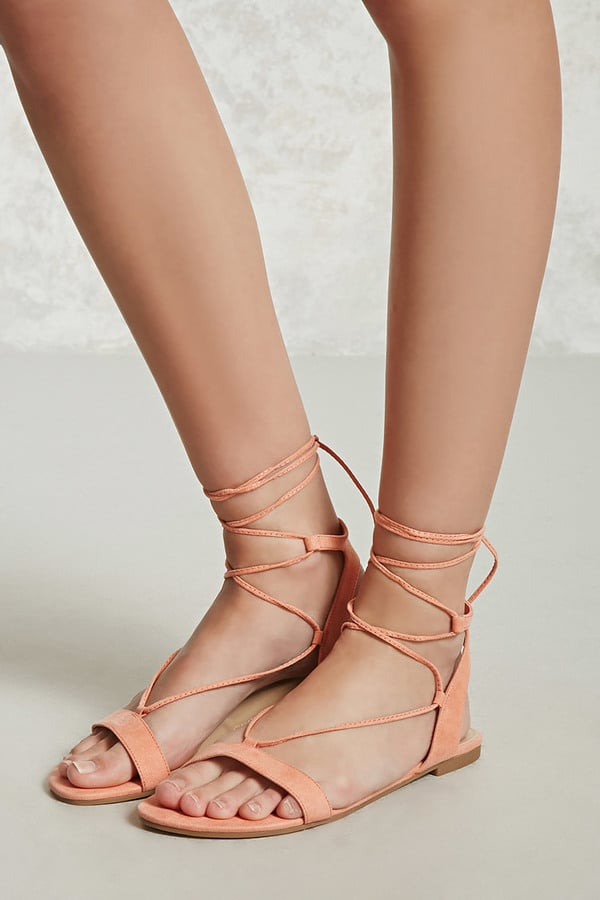 73e51df00af3 Forever 21 Faux Suede Lace-Up Sandals