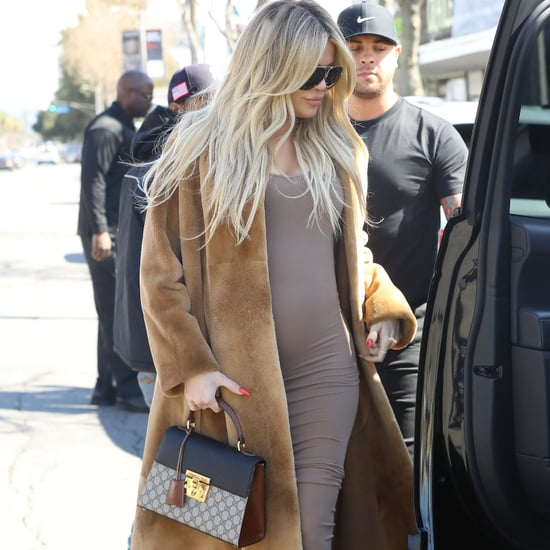 Khloe Kardashian Wearing a Bodycon Dress Pregnant