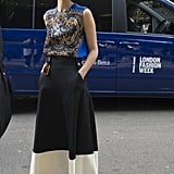 A silky printed shell emboldened a ladylike, full-length skirt.