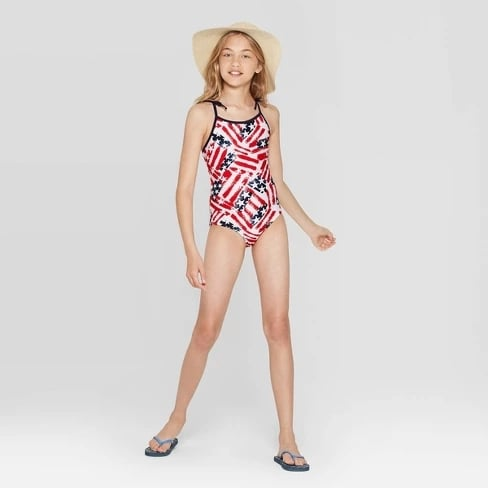 348cd0185 Girls' Americana Family One-Piece Swimsuit | Best Fourth of July ...