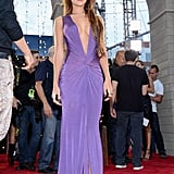 Melanie Iglesia picked a plunging purple gown for the MTV VMAs red carpet.