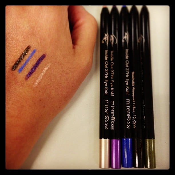 All the pretty colours! Alison's loving Mirenesse's new 27-hour kohl pencils, not least of all because they're waterproof!