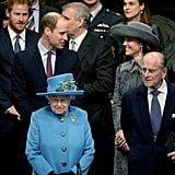 Philip was joined by his grandsons William and Harry, as well as the Duchess of Cambridge and Queen Elizabeth, for a Commonwealth Day service in March 2016.