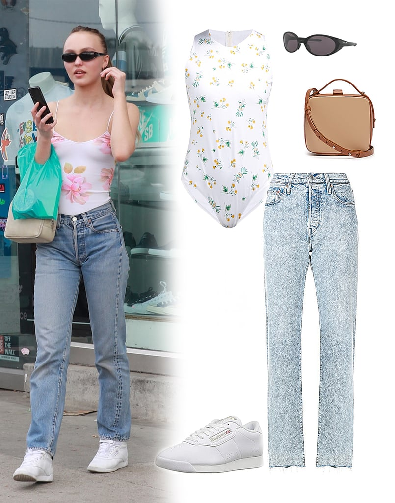 Lily-Rose Depp Jeans and Floral Bodysuit