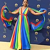 Tiffany Haddish Rainbow Dress by Prabal Gurung at 2018 Emmys