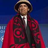 Donning a tribal blanket and hat at the White House Tribal Nations Conference in 2016.