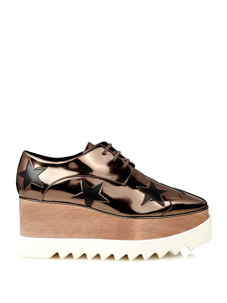 Stella McCartney Elyse metallic lace-up platform shoes ($882)