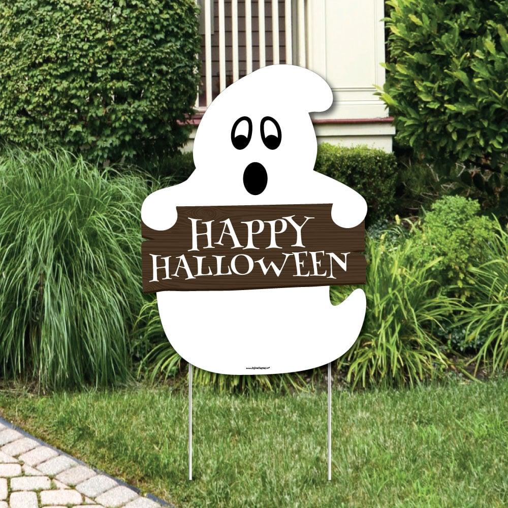 Halloween Yard Decorations 2019.Spooky Ghost Welcome Yard Sign Walmart Halloween Decorations 2019