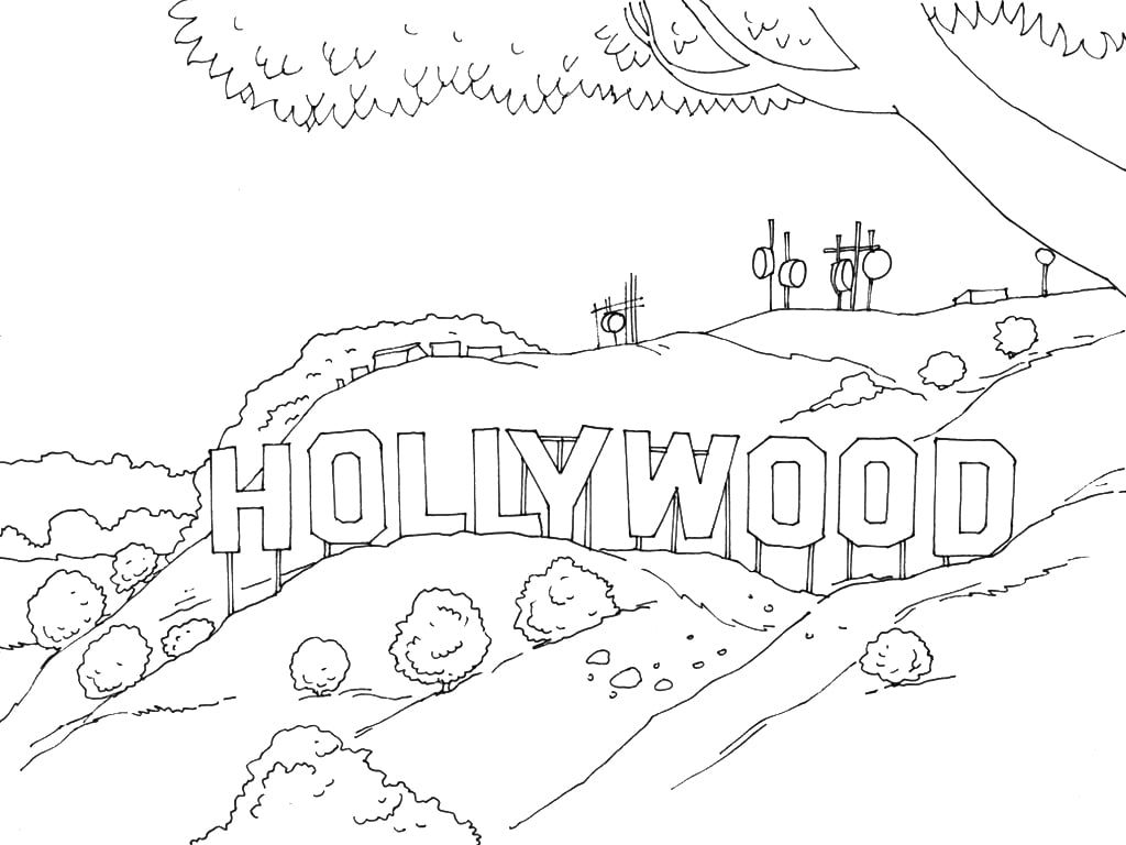 Get the coloring page: Hollywood Sign