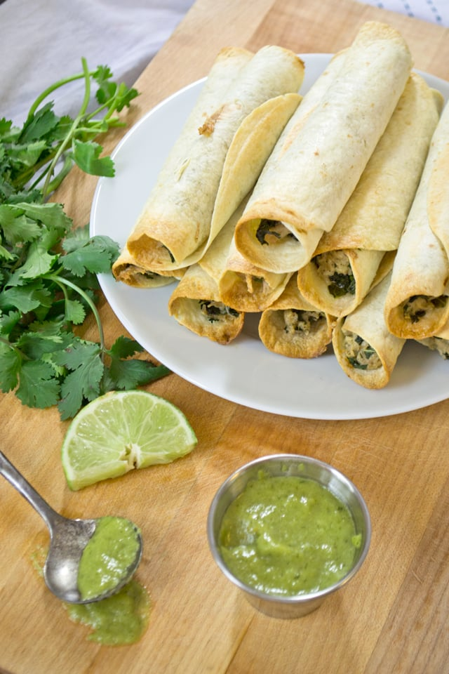 Baked Chicken and Kale Taquitos With Jalapeño Green Sauce