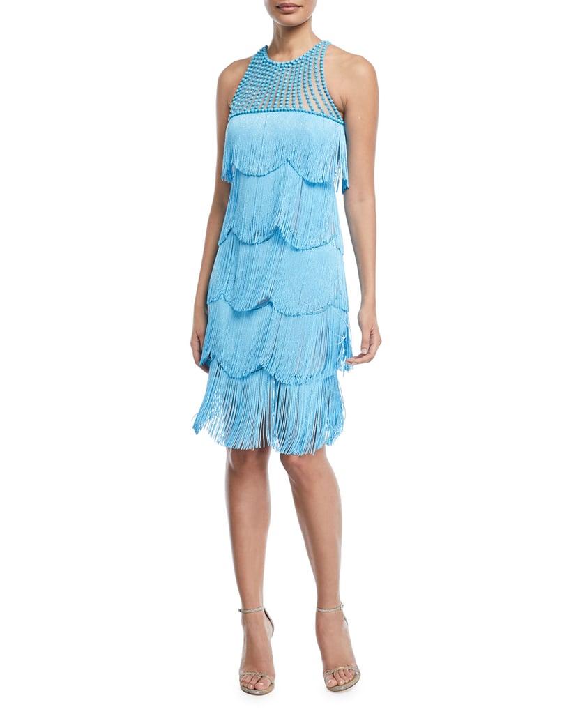 Naeem Khan Beaded Fringe Sleeveless Cocktail Dress | Taylor Swift ...