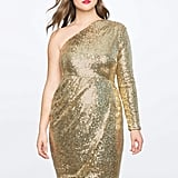 ELOQUII One Shoulder Wrap Skirt Sequin Dress