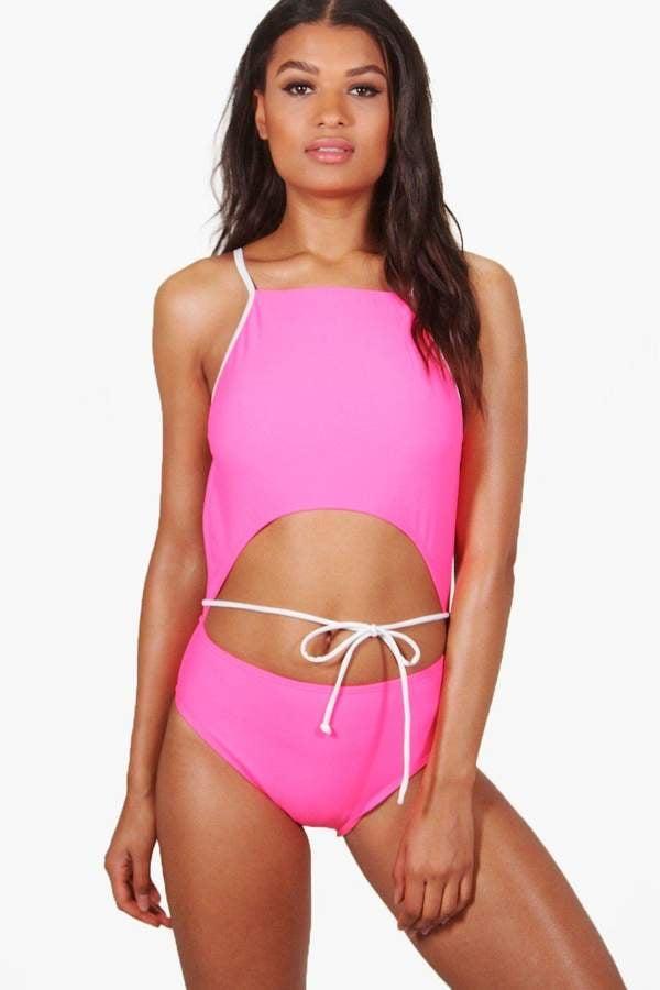 c5f11db618ece Boohoo Goa Cut Out Tie Waist Swimsuit