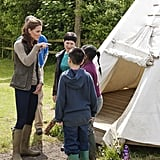 Kate Middleton checked out a teepee with children from Expanding Horizons primary school outdoor camp.