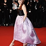 At The Great Gatsby premiere in Cannes, Julianne Moore showed off a two-tone Dior gown with metallic platform sandals.