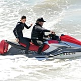Courteney Cox on a jet ski.