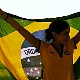 Camilla Belle posed with the Brazilian flag. Source: Instagram user camillabelle