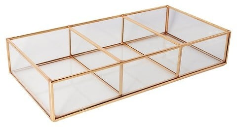 Jewelry basically turns into decor once it goes in this box.  Threshold Glass and Metal 3 Compartment Vanity Tray ($20)
