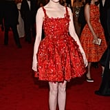 Emma attended the 2012 Met Gala with designer Alber Elbaz and of course, donned one of Lanvin's playful designers. This ultraembellished sired red fit-and-flare dress totally fit the actress's youthful spirit.