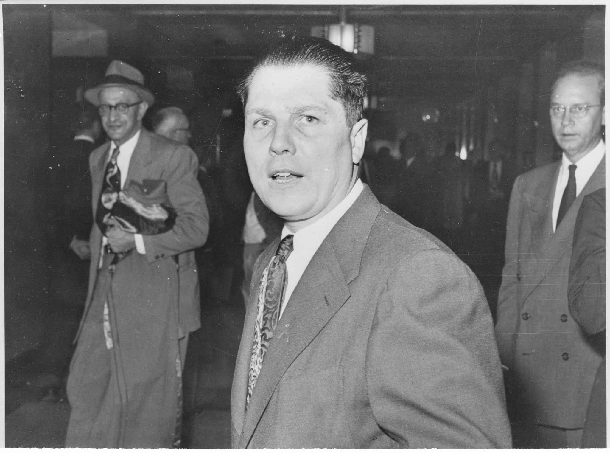 (Original Caption) F.B.I. arrested James Hoffa here March 13, 1957 (shown here in a 1953 photo), Vice President of the Teamsters Union, on charges of bribery. Hoffa is charged with bribing a New York attorney to secure data from the files of the Special Senate Committee on Racketeering.