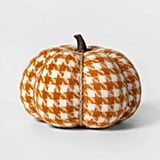 Knit Houndstooth Pumpkin Halloween Decoration in Medium