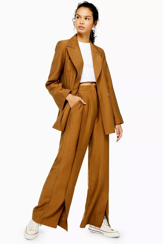 Topshop Dark Camel Raw Hem Single Breasted Suit