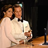 Matthew McConaughey and Camila Alves inspected his Oscar.