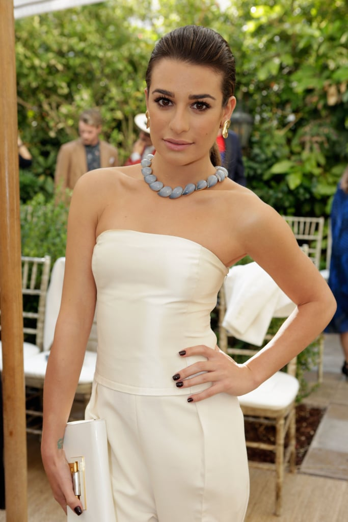 A partless ponytail and bold brows drew attention to Lea Michele's beautiful face. Extra points for an incredible, dark-hued manicure.