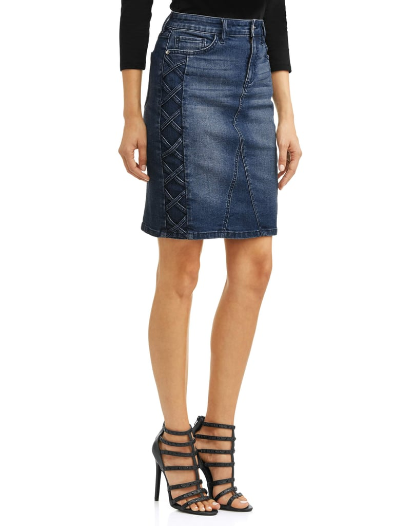 Margarita Side Laced Stretch Denim Pencil Skirt