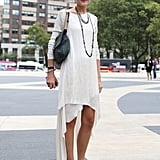 Yes, you can wear white after Labor Day, especially with dark accessories, like Teen Vogue's Mary Kate Steinmiller.