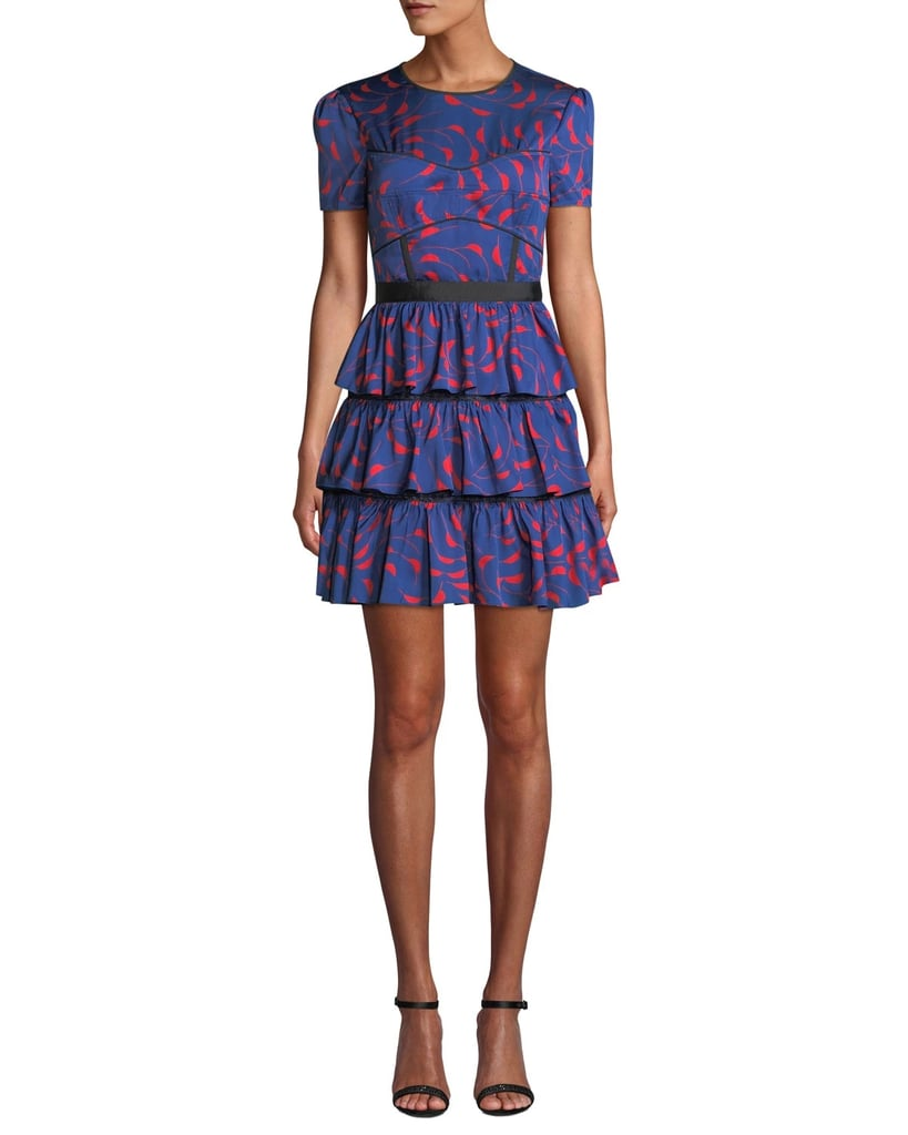 Self-Portrait Tiered Printed Ruffle Mini Dress