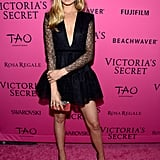 "At the afterparty, Bridget stunned in an LBD by Australian designer Alex Perry. She posted a shot of her lacy look on Instagram, writing, ""Repping Aus in @alexperryofficial last night on the @victoriassecret pink carpet."""