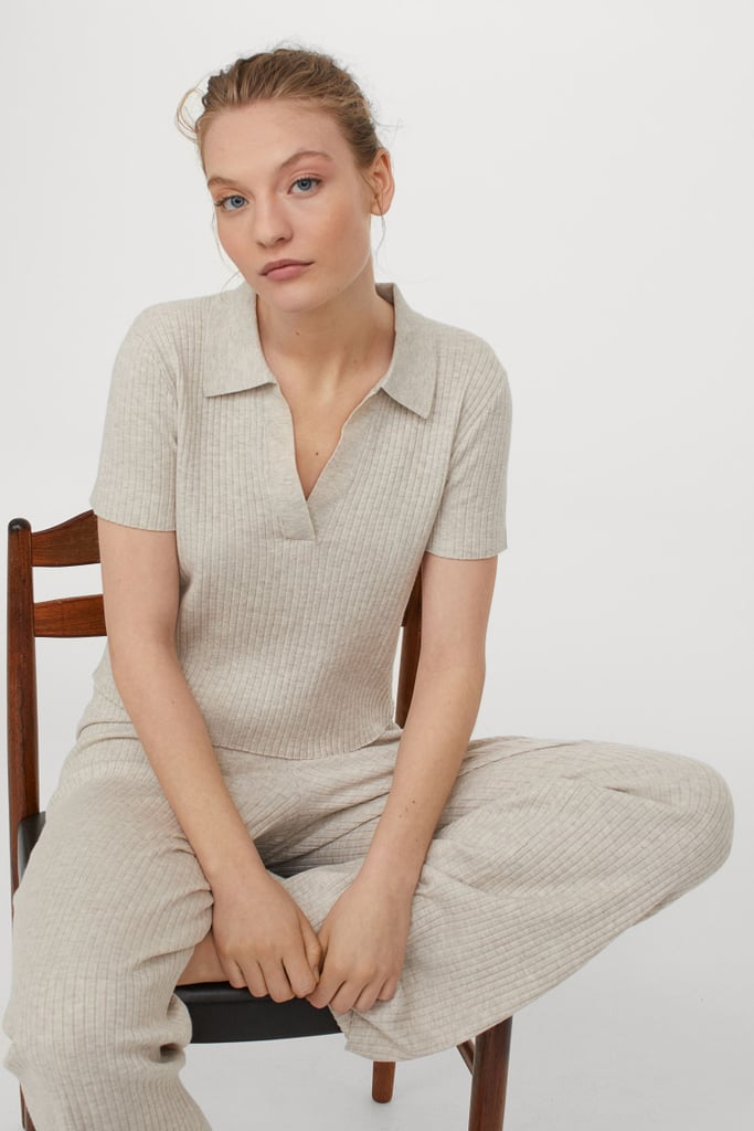 Collared Ribbed Top