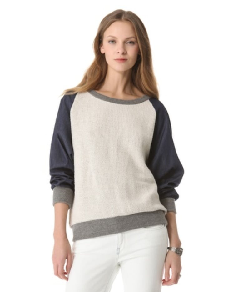 The  Riller & Fount Angelika Raglan Sweatshirt ($165) combines all my favorite weekend materials (chambray, sweatshirt, and jersey) into a top that's so chic I'd wear it all week long. — Melissa Liebling-Goldberg, Fashion & Beauty director