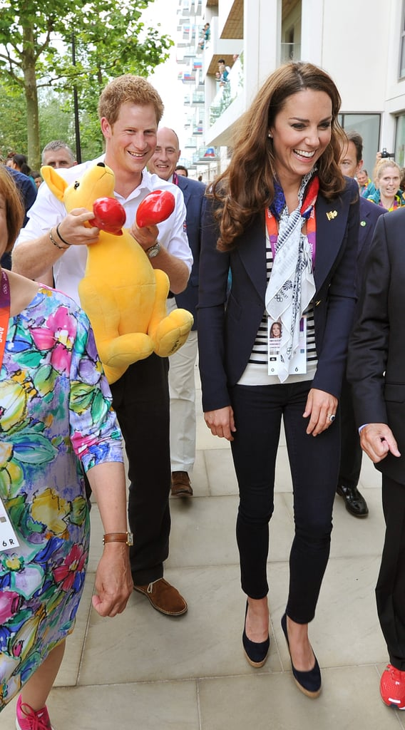 Kate's smile couldn't have been bigger when Prince Harry walked behind her carrying a giant kangaroo during the 2012 Olympics.