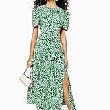 Topshop Floral Slit Ruffle Midi Dress