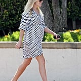 Reese Witherspoon sported a polka-dot dress and a big smile while picking her kids up from school.