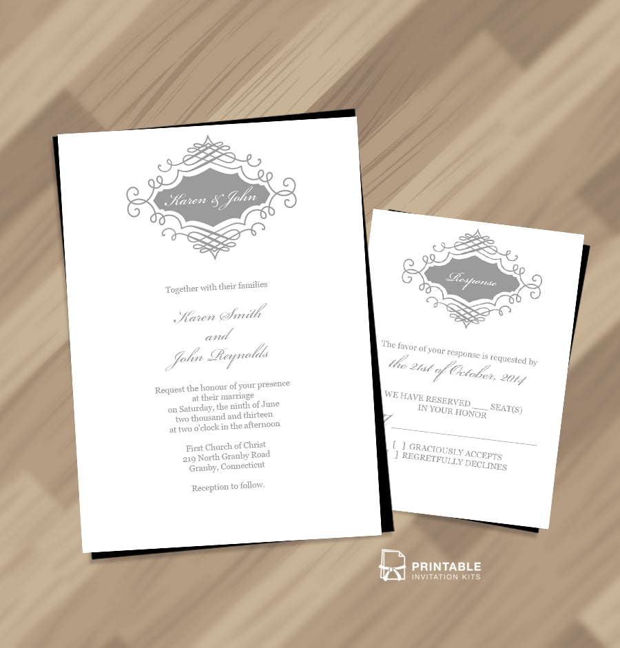 Beautiful Wedding Monogram Invitation Free Printable Wedding
